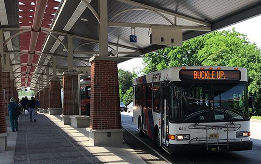 Bus pulling into terminal