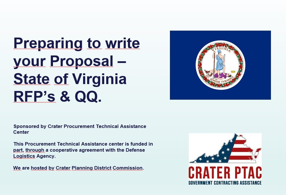 PREPARING TO WRITE YOUR PROPOSAL – STATE OF VIRGINIA RFPS AND QUICK QUOTES